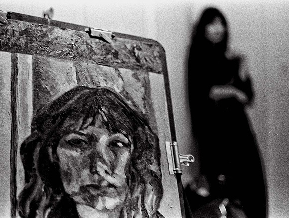 Paula with self-portrait, 1980